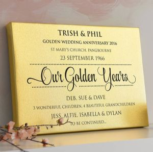 Personalised Golden Anniversary Gold Metallic Canvas